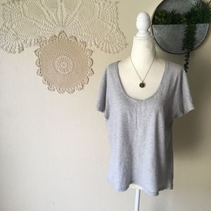 Everlane grey and white striped scoop neck tee